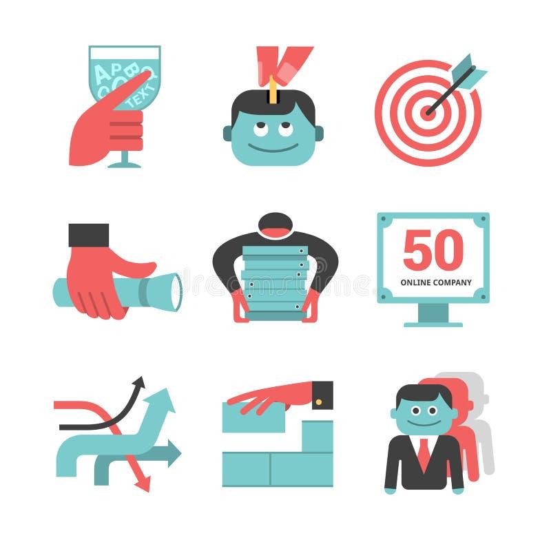 Iconos planos de la gestión contenta fijados. Parte 1 ilustración del vector