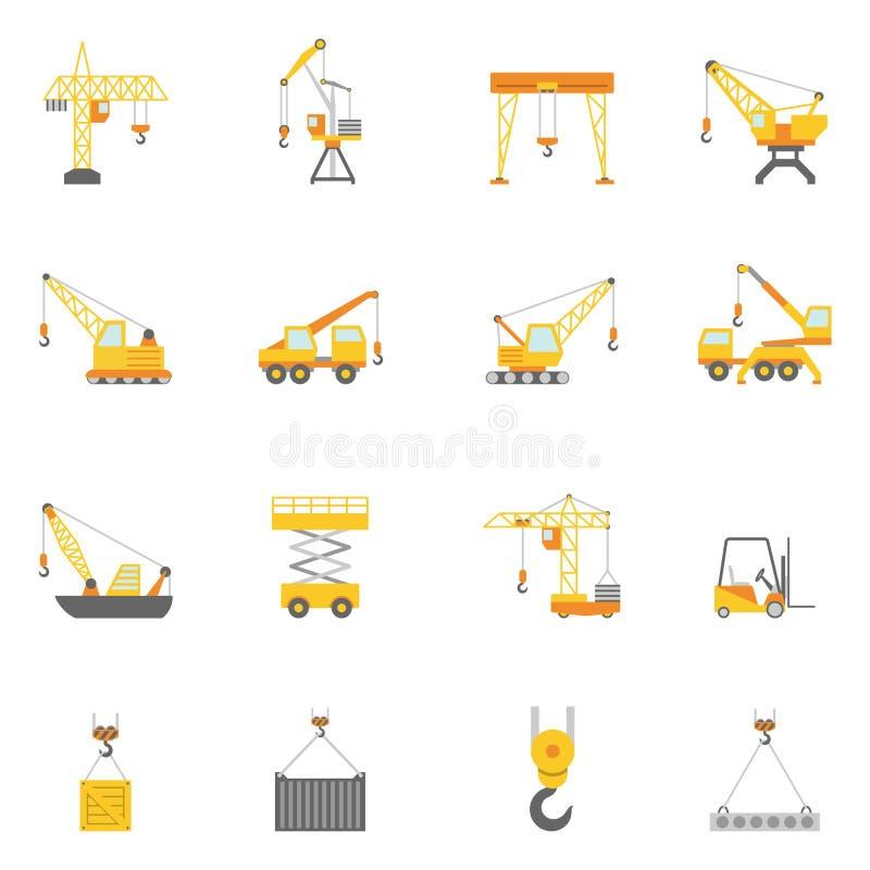 Iconos planos de la grúa de la construcción de edificios fijados stock de ilustración