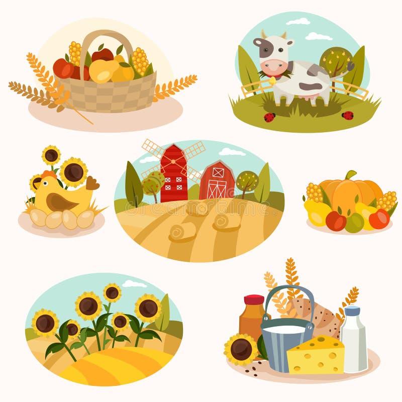 Iconos planos de la granja de Eco fotografía de archivo libre de regalías