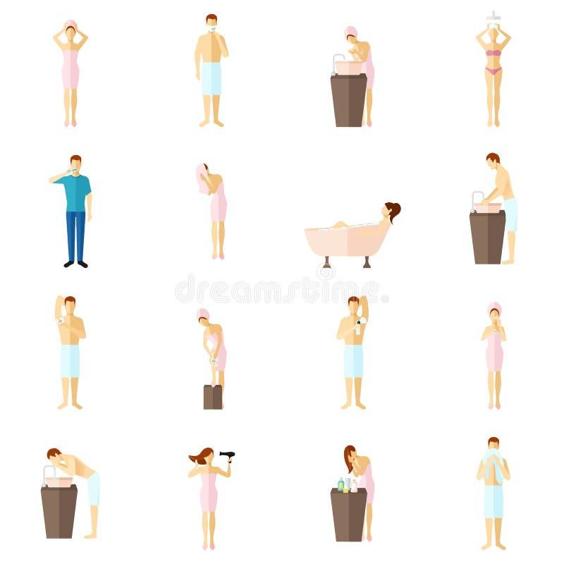 Iconos planos de la higiene personal fijados ilustración del vector