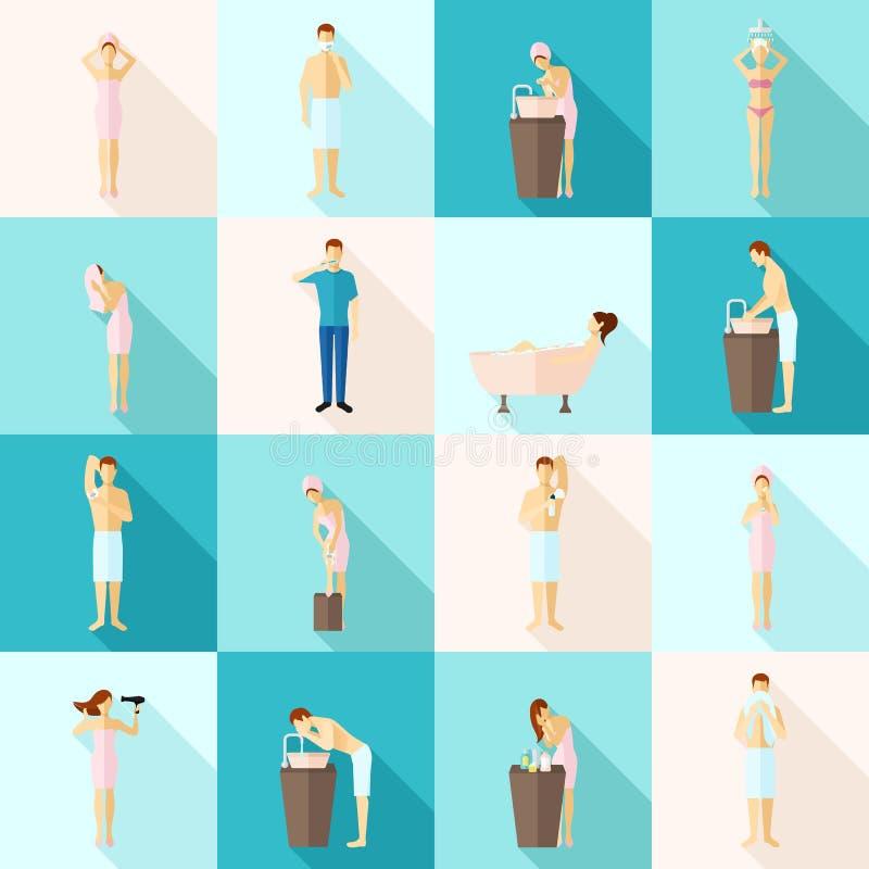 Iconos planos de la higiene personal fijados libre illustration