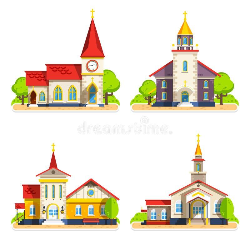 Iconos planos de la iglesia fijados libre illustration