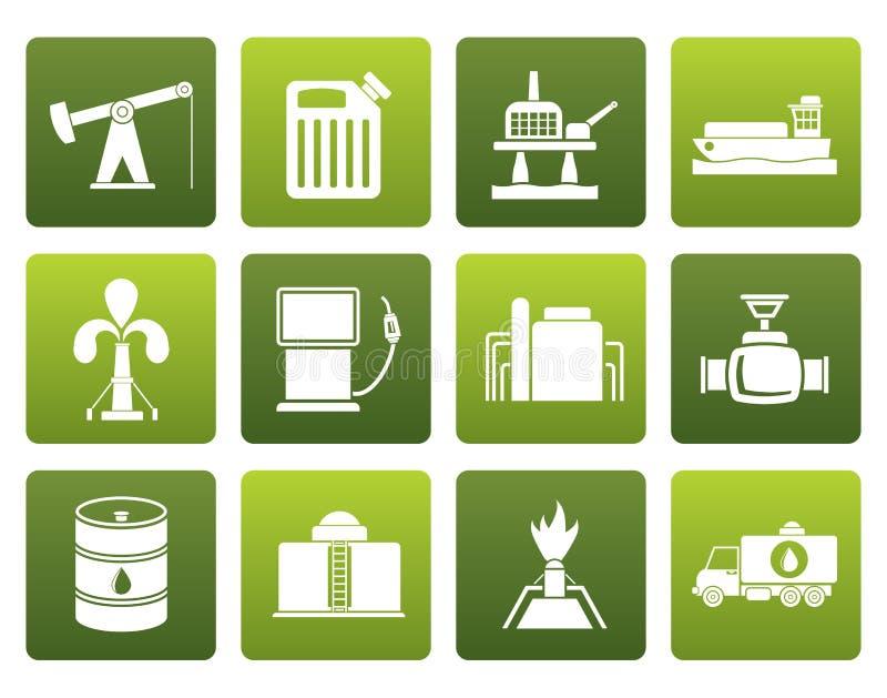 Iconos planos de la industria del aceite y de la gasolina libre illustration