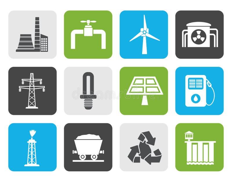 Iconos planos de la industria del poder y de la electricidad stock de ilustración