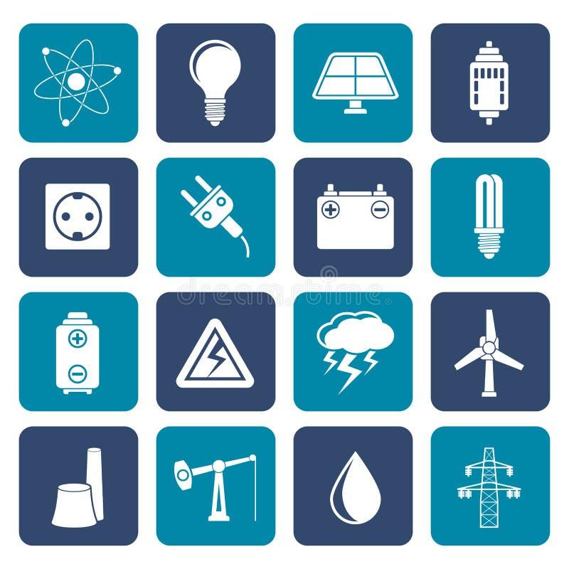 Iconos planos de la industria del poder y de la electricidad ilustración del vector