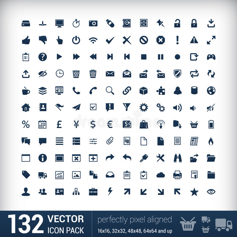 Iconos planos de la interfaz de usuario moderna mono, pixeles stock de ilustración