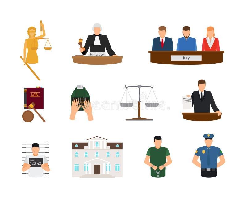 Iconos planos de la ley y de la justicia ilustración del vector