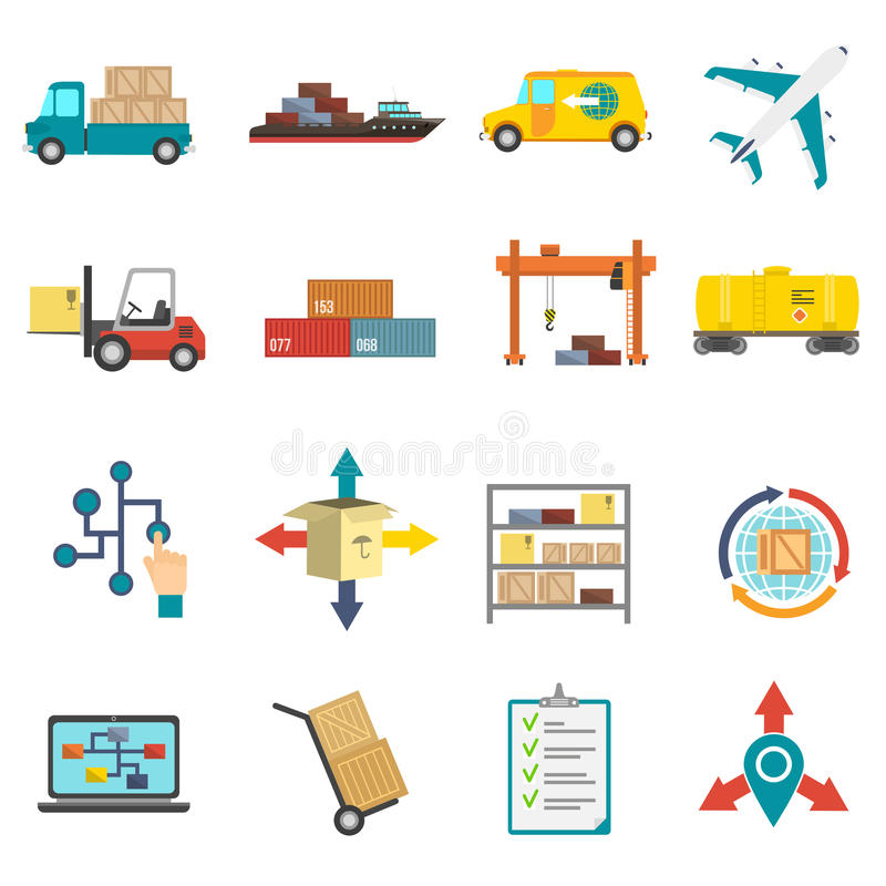 Iconos planos de la logística fijados ilustración del vector