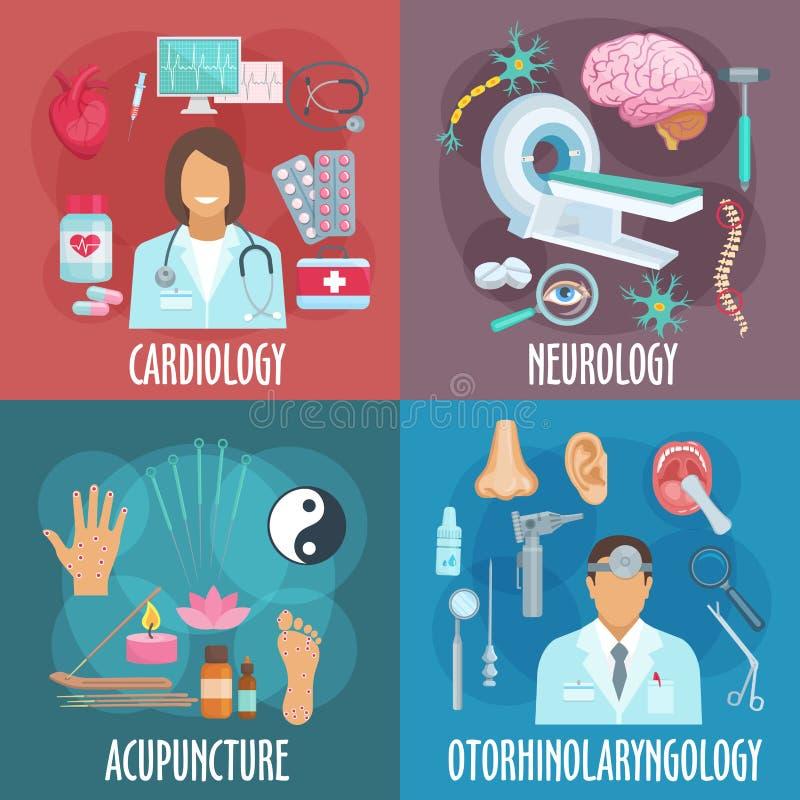 Iconos planos de la medicina convencional y alternativa stock de ilustración