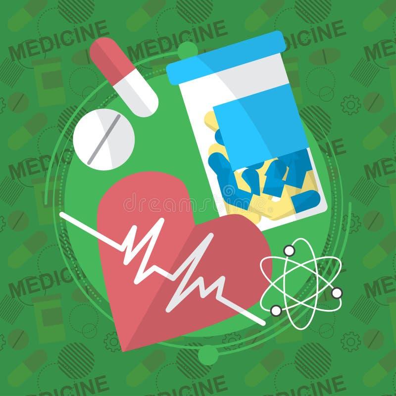 Iconos planos de la medicina fijados Las píldoras encajonan, las tabletas, píldora, ampolla, vitaminas, líquido Vector stock de ilustración