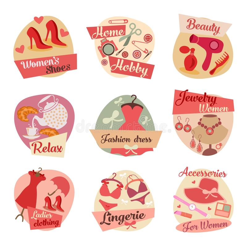 Iconos planos de la moda imagen de archivo libre de regalías