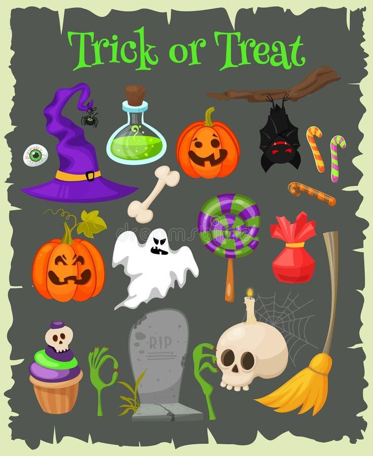Iconos planos de la moda de Halloween libre illustration