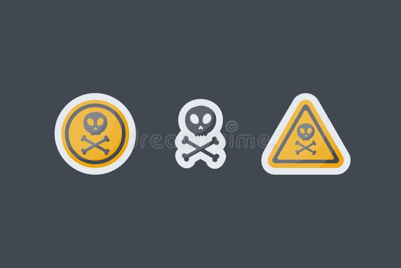 Iconos planos de la muestra del veneno fijados stock de ilustración