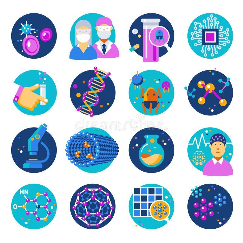 Iconos planos de la nanotecnología fijados stock de ilustración