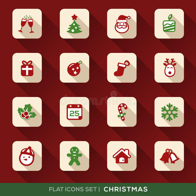 Iconos planos de la Navidad fijados stock de ilustración
