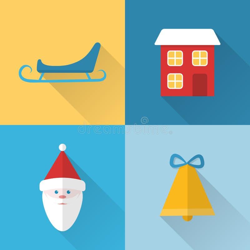 Iconos planos de la Navidad fijados libre illustration