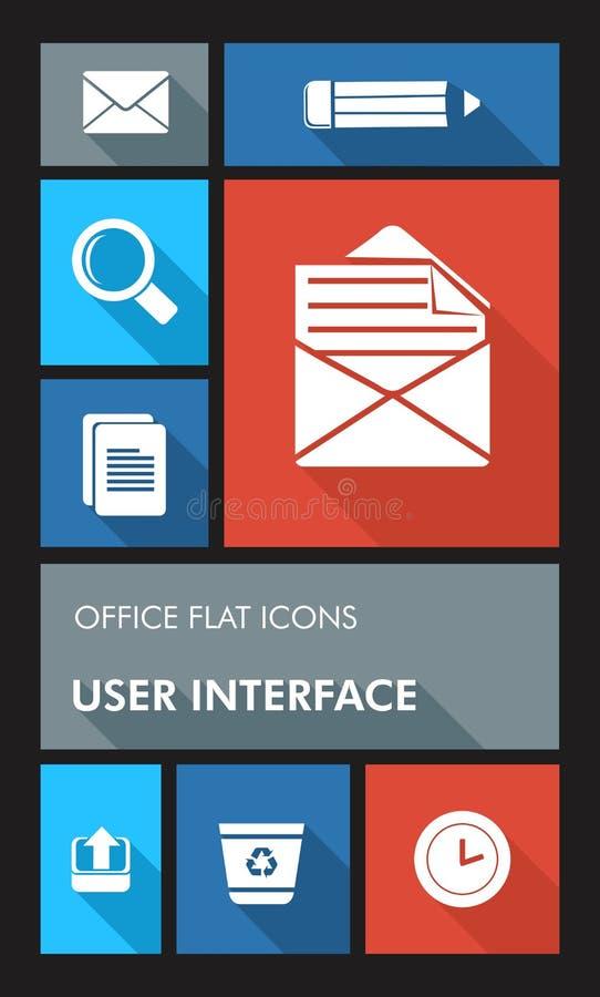 Iconos planos de la oficina UI de la interfaz de usuario colorida de los apps. stock de ilustración