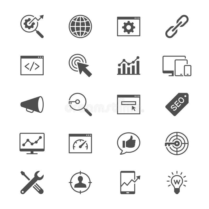 iconos planos de la optimización del Search Engine imagen de archivo libre de regalías