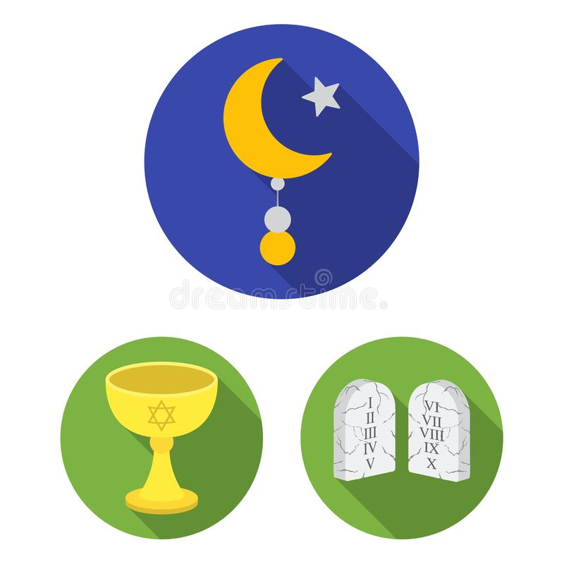 Iconos planos de la religión y de la creencia en la colección del sistema para el diseño Accesorios, ejemplo del web de la acción stock de ilustración