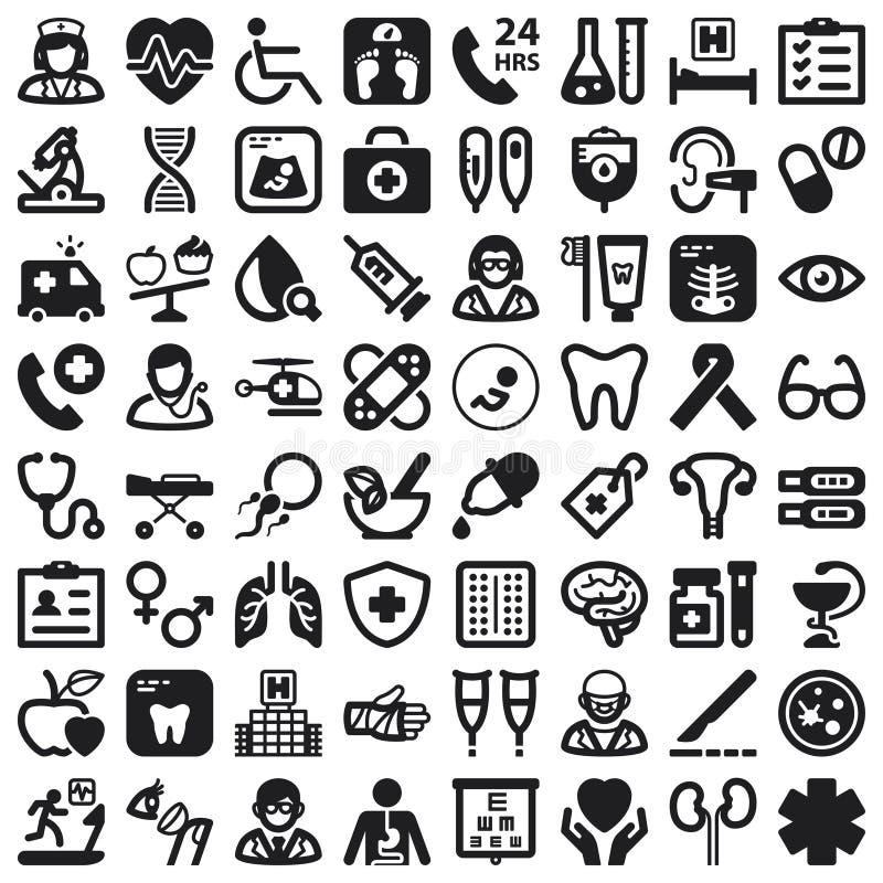 Iconos planos de la salud. Negro ilustración del vector
