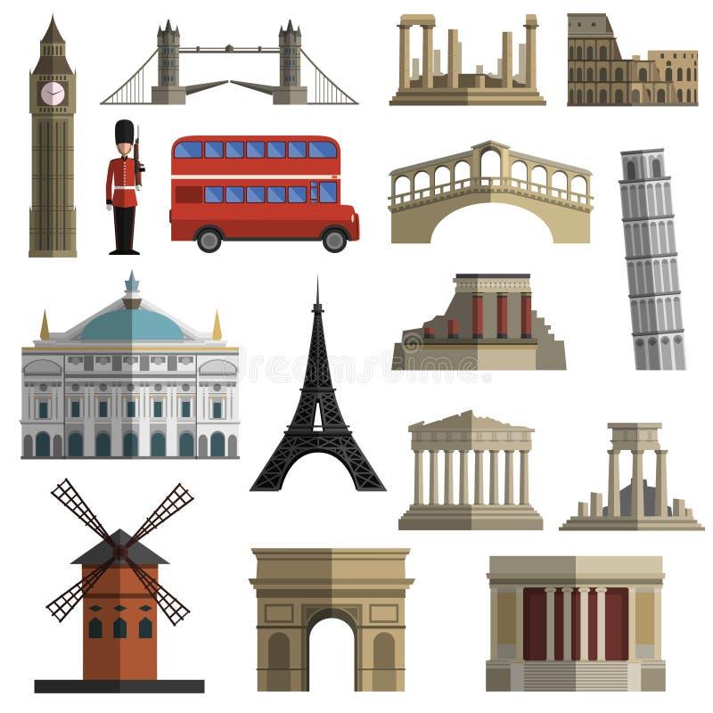 Iconos planos de la señal del viaje fijados libre illustration