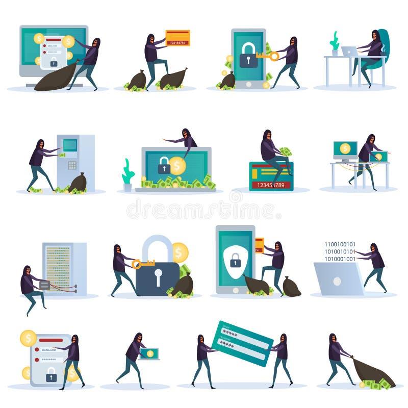 Iconos planos de la seguridad cibernética stock de ilustración