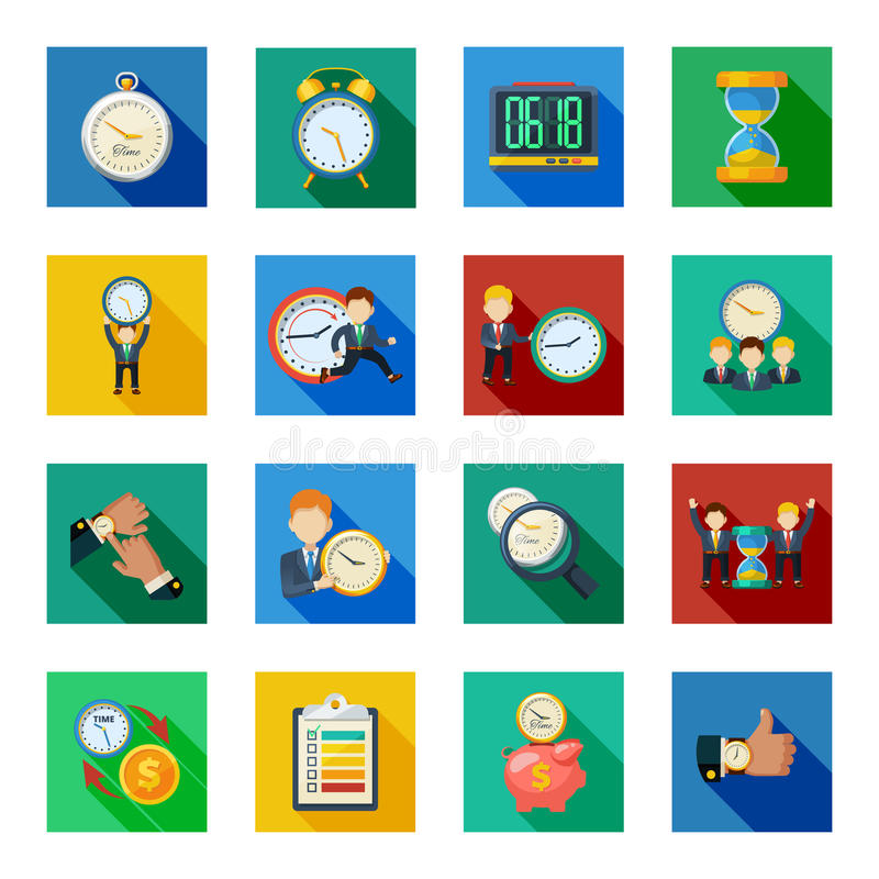 Iconos planos de la sombra de la gestión de tiempo fijados stock de ilustración