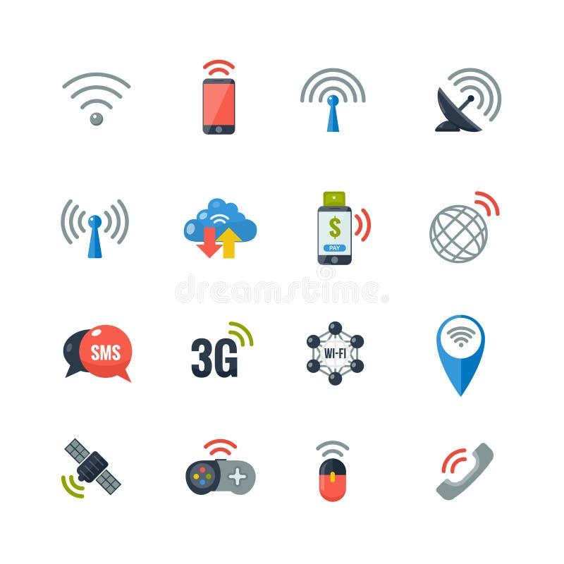 Iconos planos de la tecnología inalámbrica fijados ilustración del vector