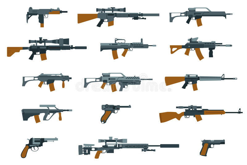 Iconos planos de las armas Escopeta y ametralladora stock de ilustración