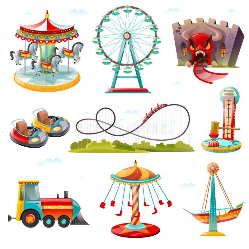 Iconos planos de las atracciones del parque de atracciones fijados stock de ilustración