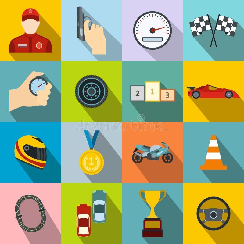 Iconos planos de las carreras de coches stock de ilustración
