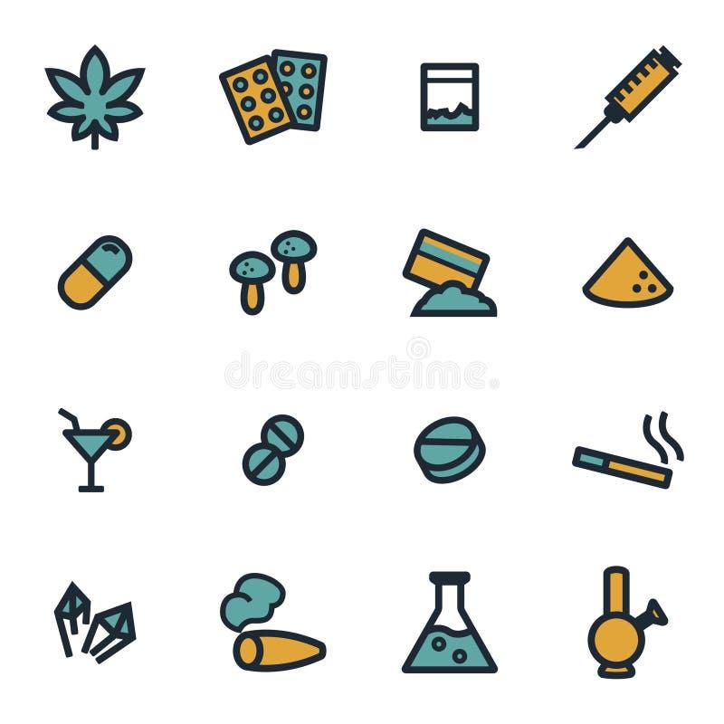 Iconos planos de las drogas del vector fijados libre illustration