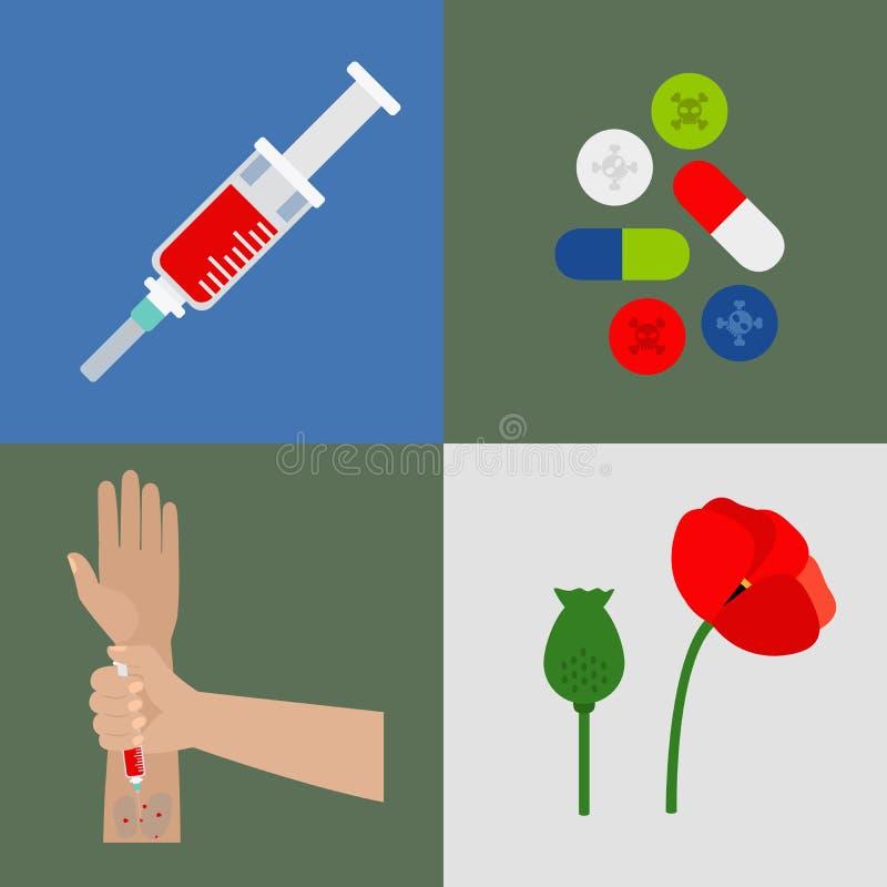 Iconos planos de las drogas fijados stock de ilustración