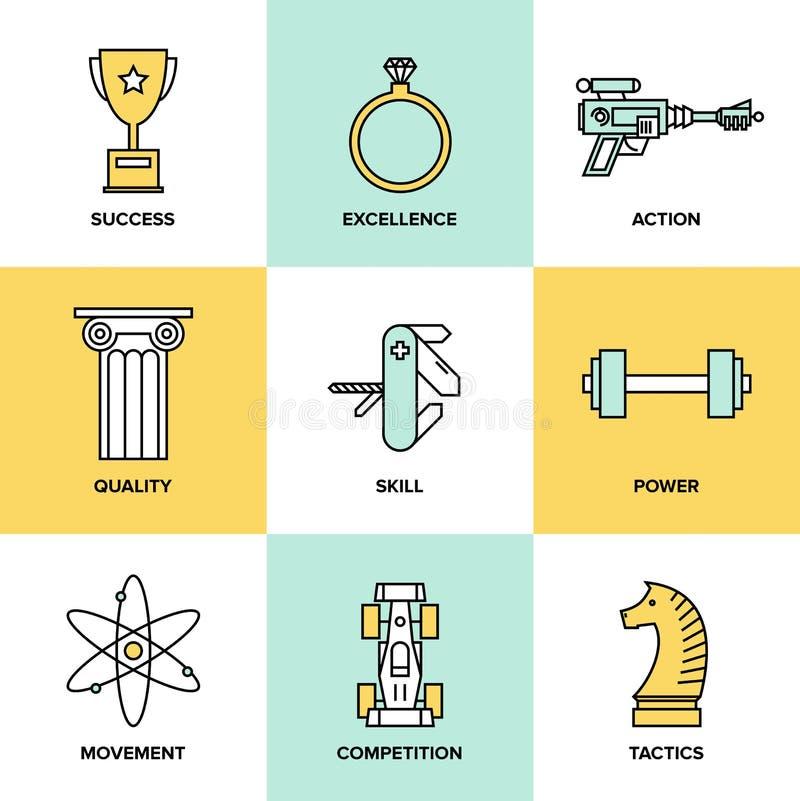 Iconos planos de las habilidades del desarrollo de negocios fijados libre illustration