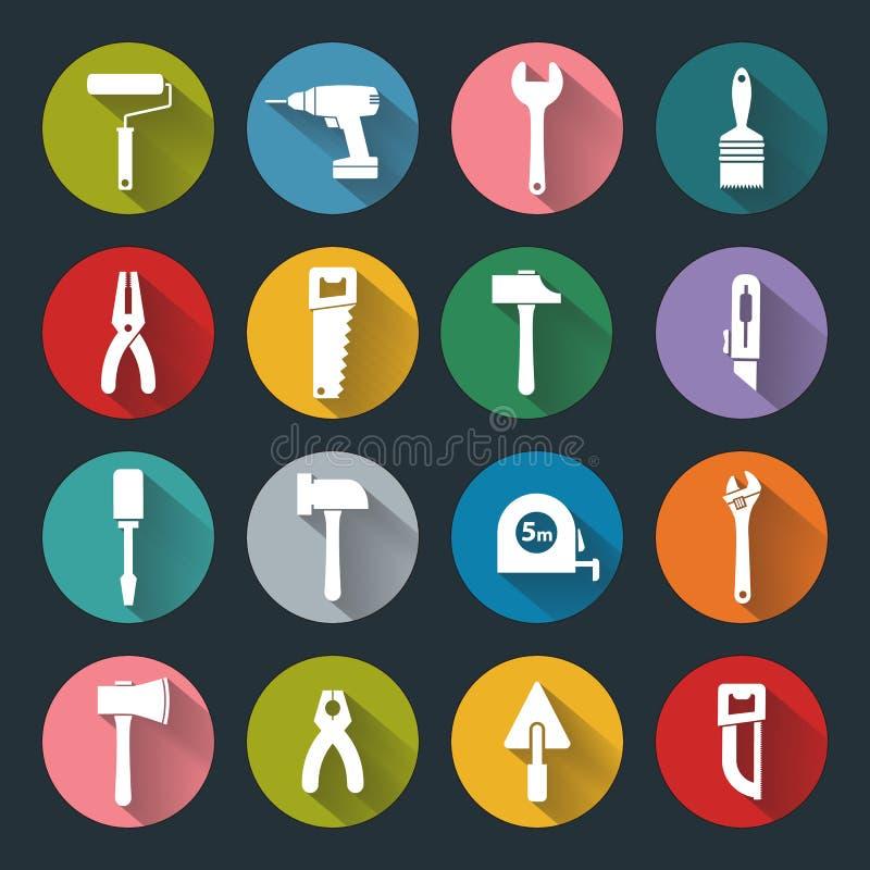 Iconos planos de las herramientas de funcionamiento libre illustration