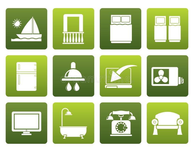 Iconos planos de las instalaciones del cuarto de motel del hotel y libre illustration