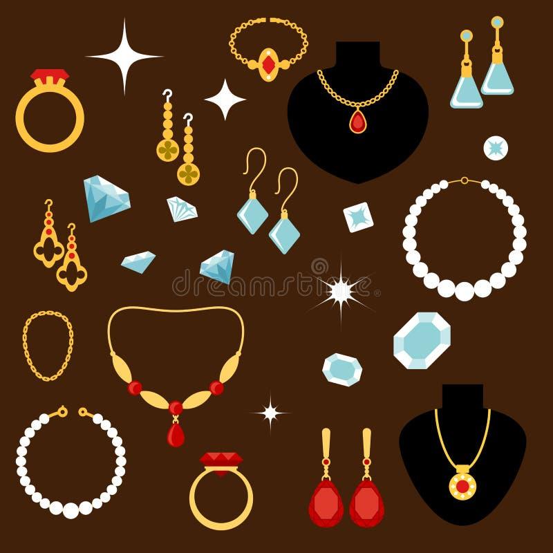 Iconos planos de las joyerías y de las piedras preciosas ilustración del vector