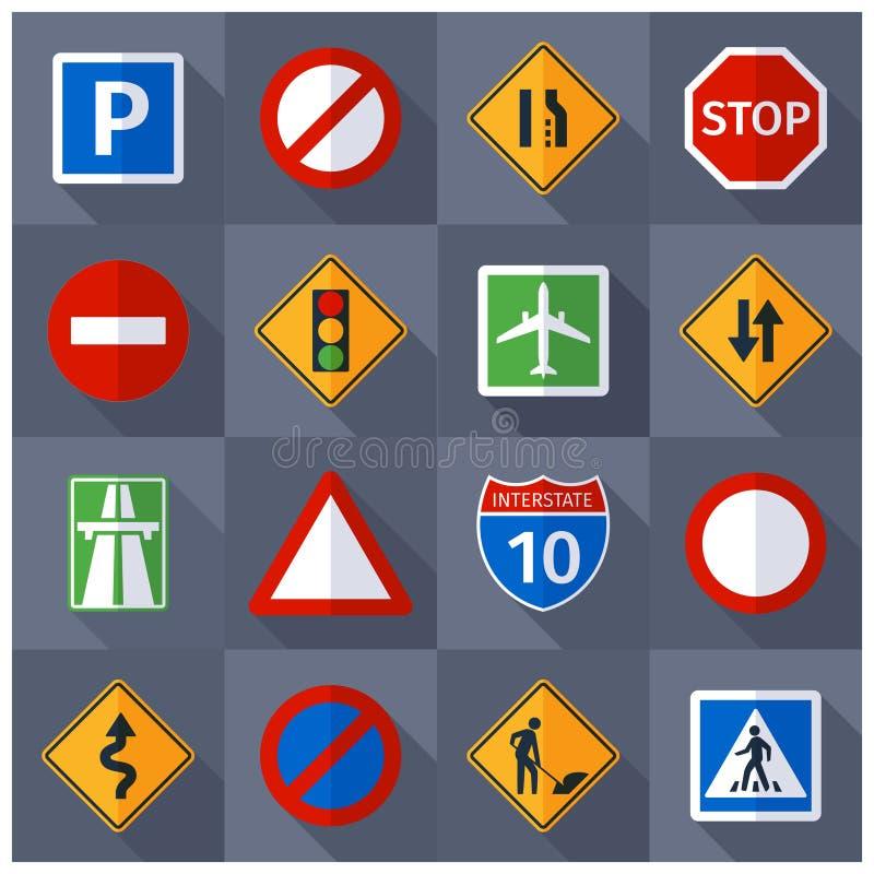 Iconos planos de las muestras del tráfico por carretera fijados ilustración del vector