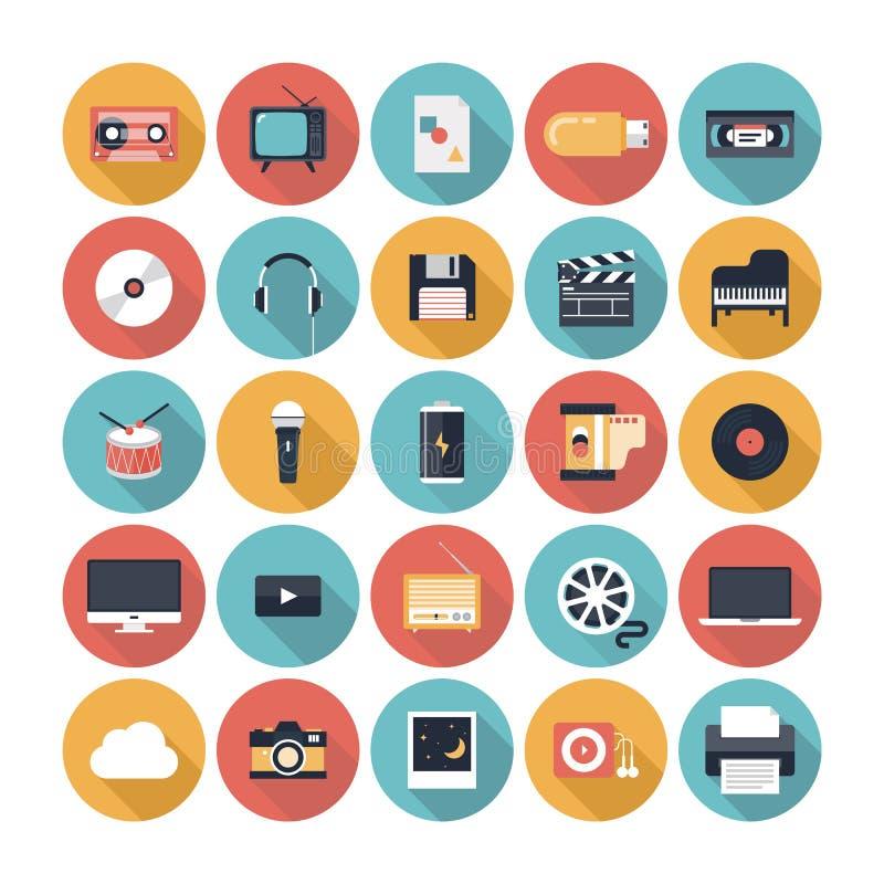 Iconos planos de las multimedias fijados ilustración del vector