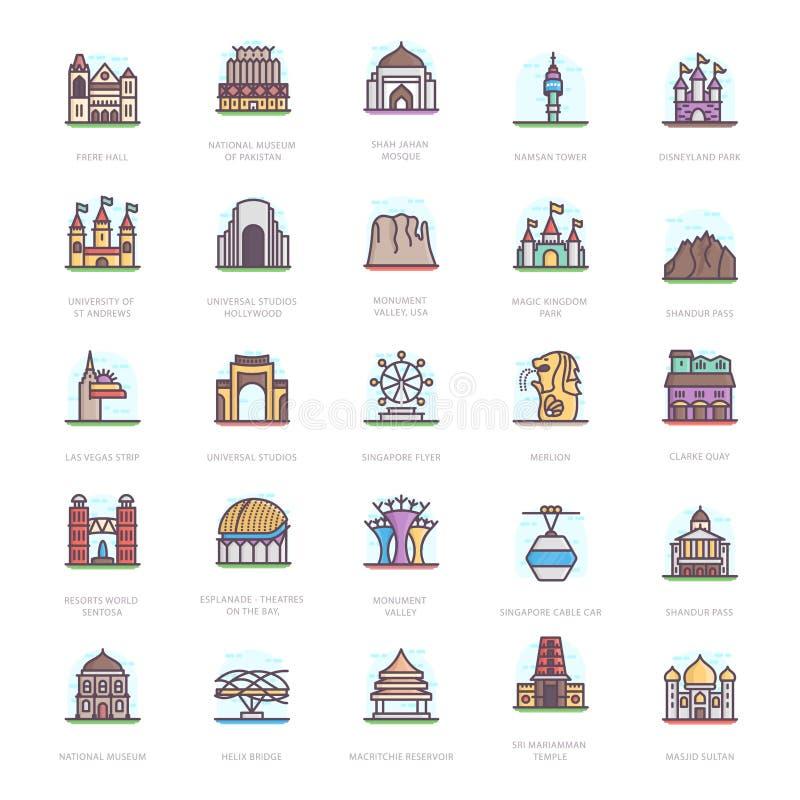 Iconos planos de las señales del mausoleo ilustración del vector