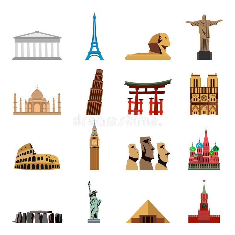 Iconos planos de las señales del mundo stock de ilustración