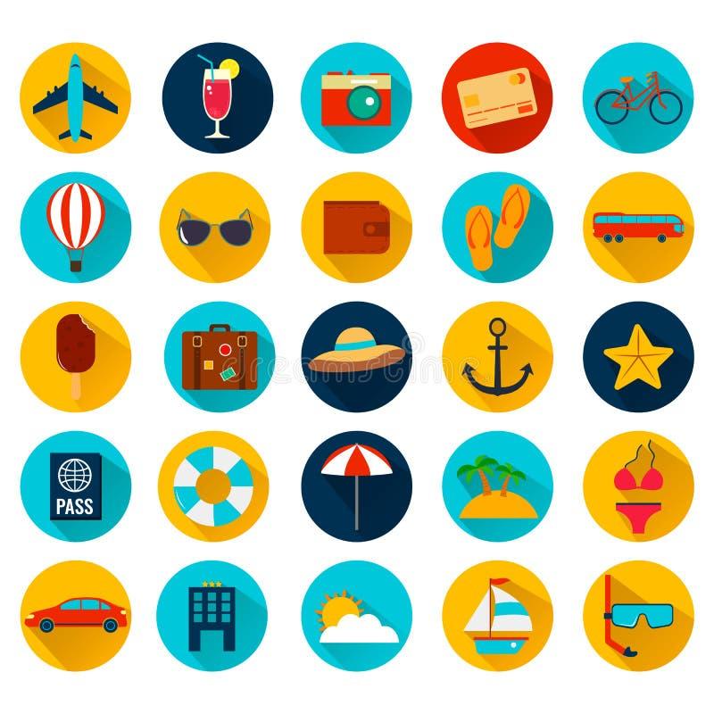 Iconos planos de las vacaciones de verano con la sombra larga Vector stock de ilustración