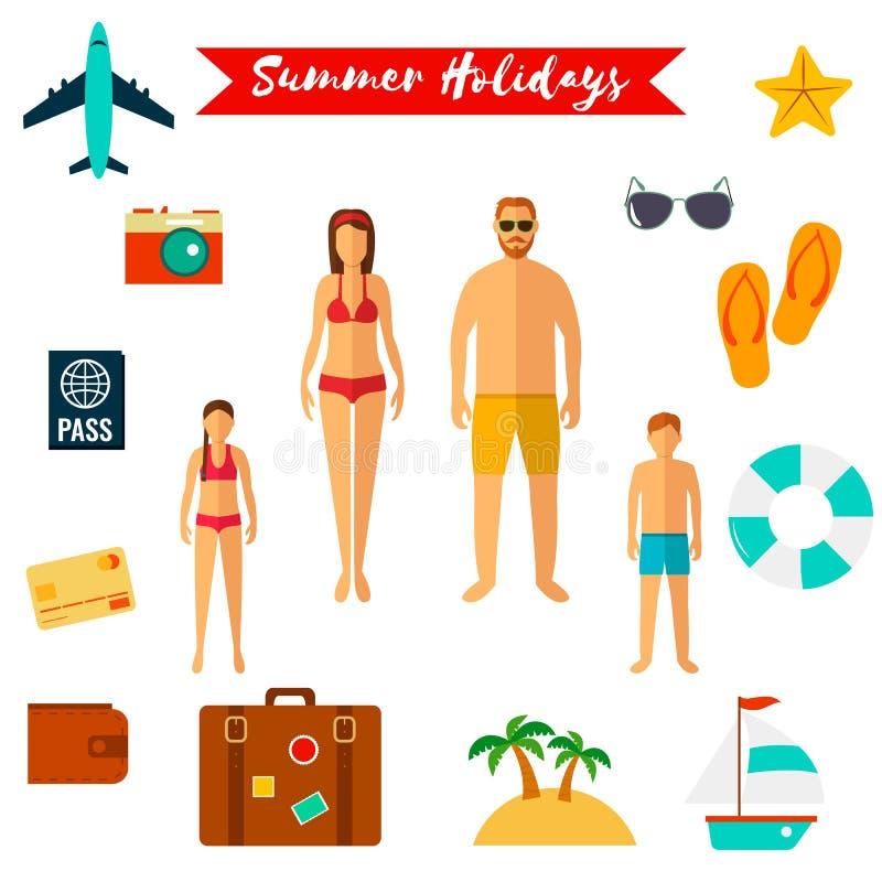 Iconos planos de las vacaciones de verano Vector libre illustration