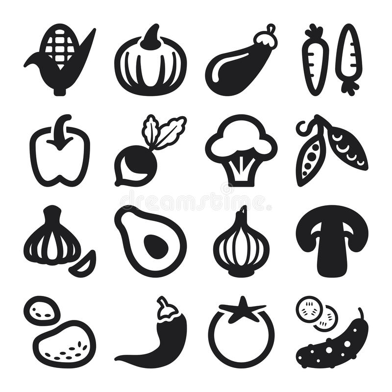 Iconos planos de las verduras. Negro libre illustration