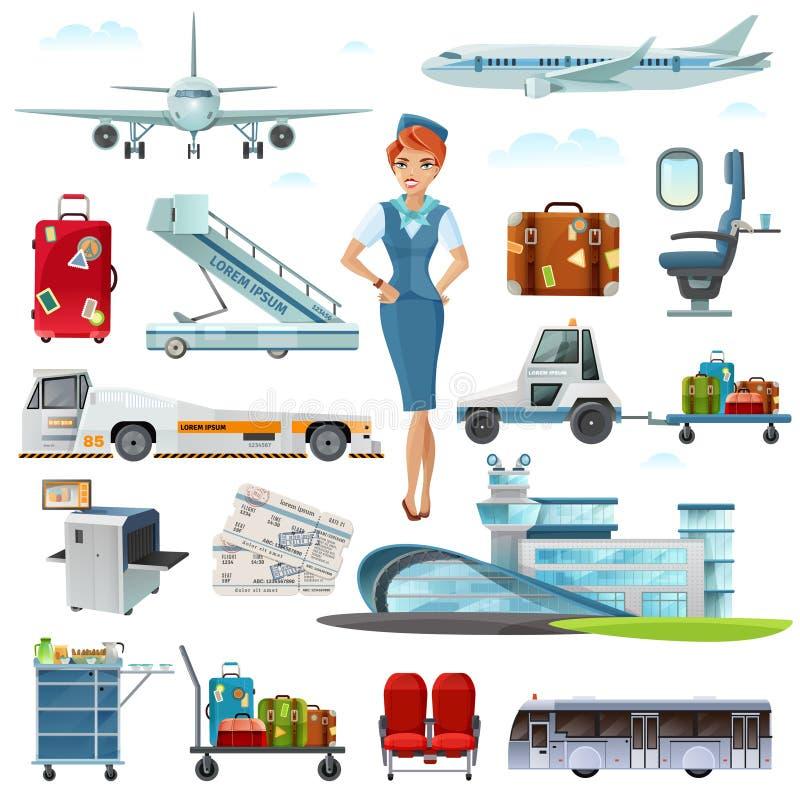 Iconos planos de los accesorios del vuelo del aeropuerto fijados ilustración del vector