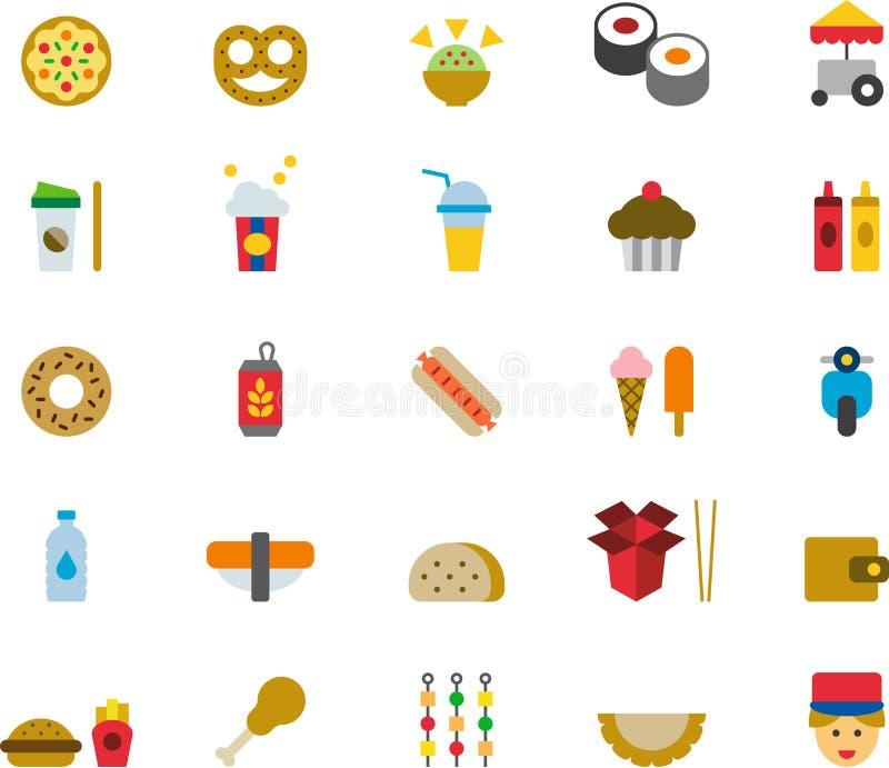 Iconos planos de los alimentos de preparación rápida ilustración del vector