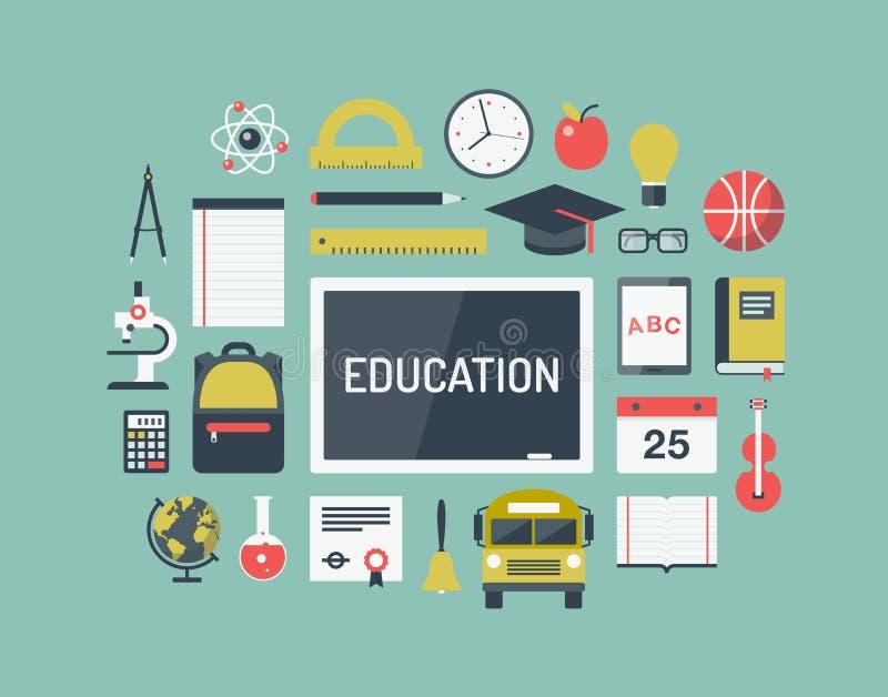 Iconos planos de los artículos de la educación fijados ilustración del vector