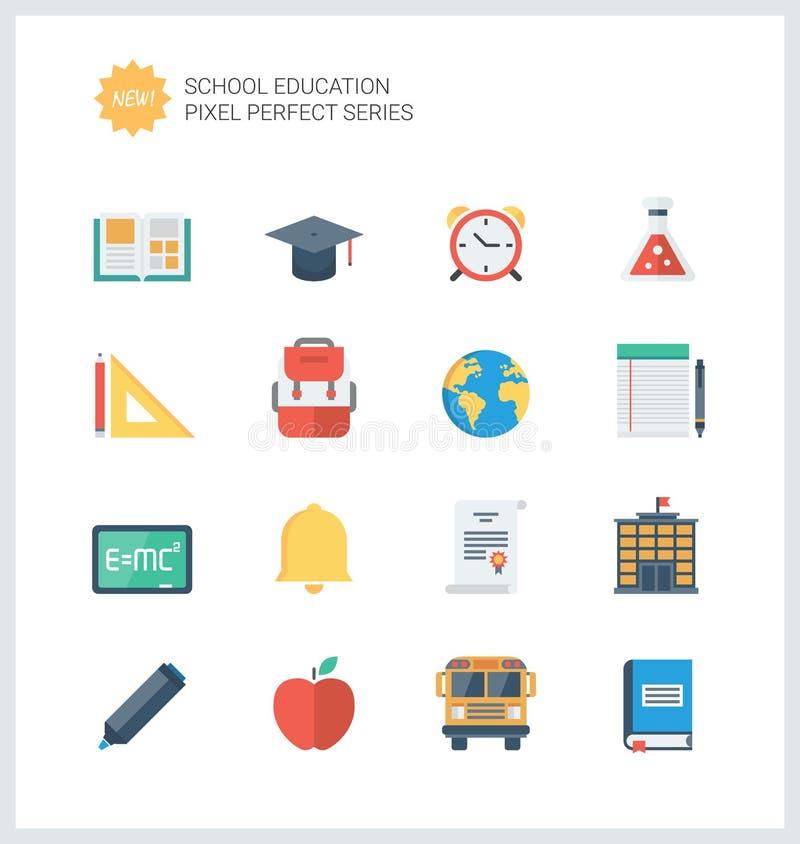 Iconos planos de los artículos perfectos de la educación del pixel fijados ilustración del vector
