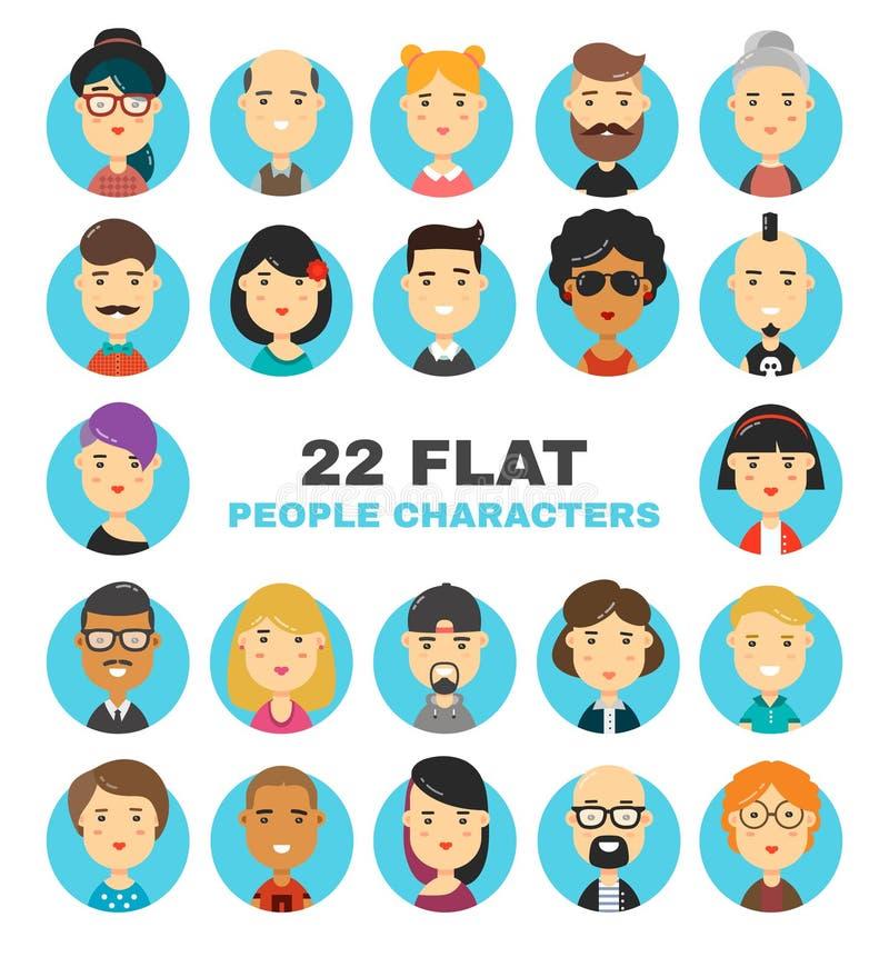 22 iconos planos de los avatares de los caracteres de la gente fijados Ejemplo moderno de la historieta del vector de mucha gente stock de ilustración