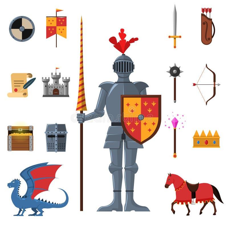 Iconos planos de los caballeros medievales del reino fijados stock de ilustración